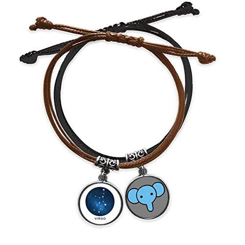CaoGSH Virgo Constelación Signo del zodiaco Pulsera de cuerda para la mano de cuero Elefante Pulsera