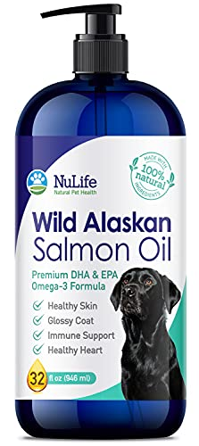 Wild Alaskan Salmon Oil for Dogs  Omega 3 Fish Oil Liquid  Skin and Coat Supplement for Shedding  Dry Itchy Skin and Allergies  All Natural EPA + DHA Fatty Acids  32 oz Pump Bottle