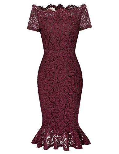 GRACE KARIN Spitzenkleid Kurzarm lang sexy Kleider elegant Damenkleider Vintage Etuikleider S CL470-2