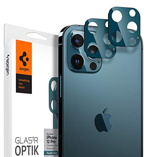 Spigen Glas.tR Optik Kamera Panzerglas kompatibel mit iPhone 12 Pro, 2 Stück, Pazifikblau, Anti-Kratzer, 9H Härte Schutzfolie