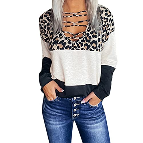 Dasongff Tops Femmes Decollete Plongeant Chemisiers et Blouses Femme Chic Patchwork Léopard Manches Longues Tee Shirt Femmes Col V Tunique Haut Grande Taille T-Shirts Sexy Casual