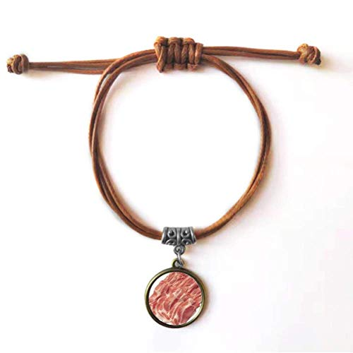 DIYthinker Pulseira de couro com textura de carne crua e comida de carne crua, pulseira de couro com corda de couro marrom joia presente