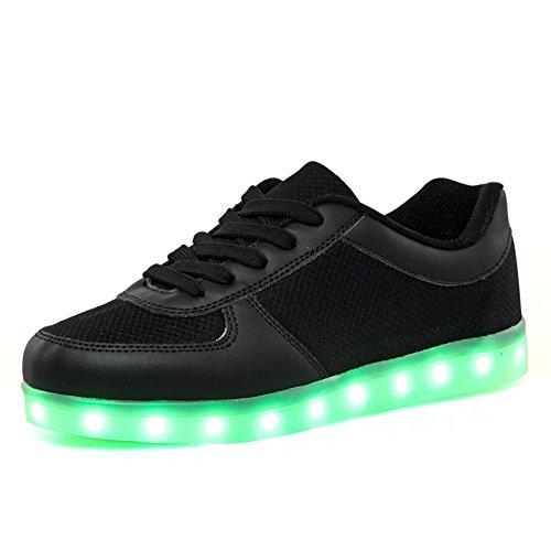 Aidonger Unisex Scarpe Sportive LED USB 7 Colori Lampeggiante Sneaker Scarpe EU35-EU46 (EU35, nero)