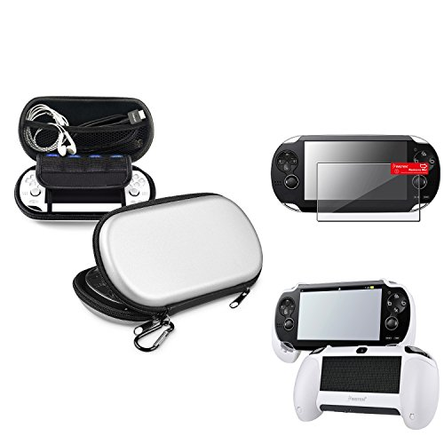 Insten Silver EVA Case Cover + White Hand Grip + Clear Screen Protector Compatible With Sony PS Vita PSV