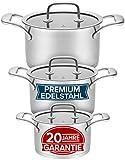 Juego de ollas de inducción de 3 piezas con 20 años de garantía. Moderno juego de ollas de acero inoxidable de alta calidad. Juego de ollas de inducción de 16, 20 y 24 cm.