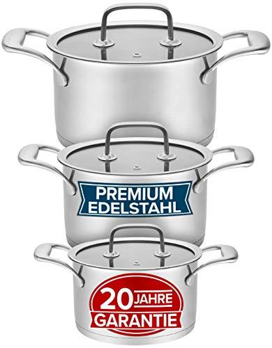 Induktions Topfset 3-teilig mit 20 Jahren Garantie - Modernes Premium Edelstahl Töpfe Set - Kochtöpfe für alle Herdarten, Robuste Glasdeckel, Spülmaschinenfest - 16, 20, 24cm Induktionstöpfe Set