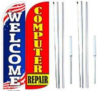 Computer Repair Welcome King Windless Flag Sign With Complete Hybrid Pole set - Pack of 2