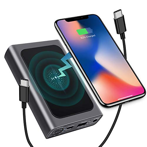 USB C Portable Charger 20000mAh, PD 60W Power Bank with 18W QC3.0 & Wireless & DC Output, Compact Battery Pack for Laptops,Smartphones,iPhone8/XR/11,iPad,AirPods,Drone,Camera (Charger Not Included)