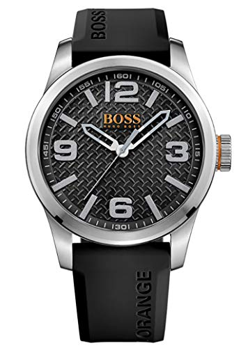Hugo Boss Orange Paris herenhorloge kwarts analoog met zwarte siliconen armband 1513350