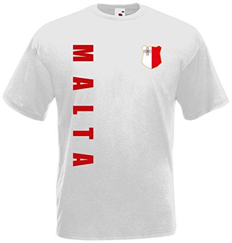 Malta T-Shirt Trikot Wunschname Wunschnummer (Weiß, XXL)