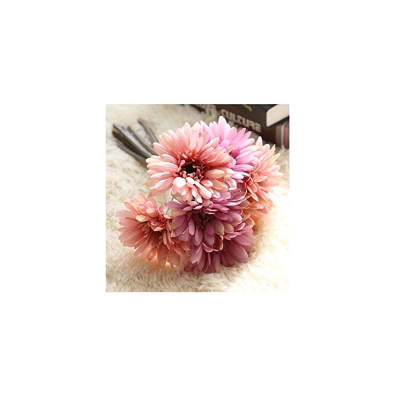 silk flower arrangements artfen artificial gerbera flower artificial daisy flowers bride bridesmaid holding flowers 7 stems silk daisies flower wedding bouquet living room office party garden diy decoration pink-purple