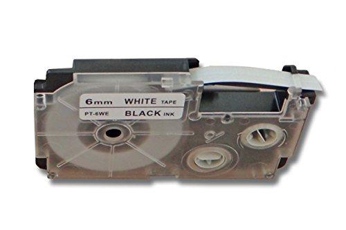 vhbw Kassette Patronen Schriftband 6mm kompatibel mit Casio CW-L300, KL-100E, KL-120, KL-1500, KL-200E, KL-300, KL-60 Ersatz für Casio XR-6WE1, XR-6WE.