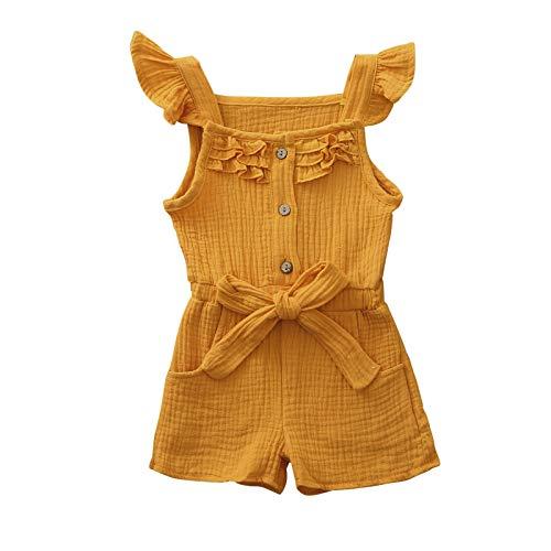 Janly Clearance Sale Mameluco para niños de 0 a 4 años, para bebés y niñas de 2 a 3 años, regalo de Pascua de San Patricio (amarillo)