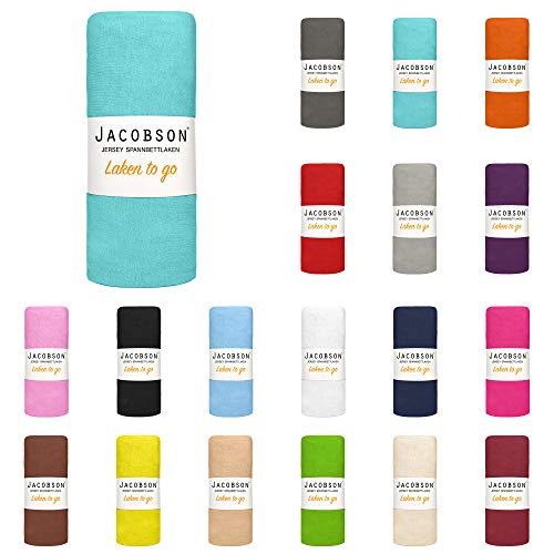 Jacobson Laken to GO Spannbettlaken Jersey Bettlaken Spannbetttuch 90x200 cm -...