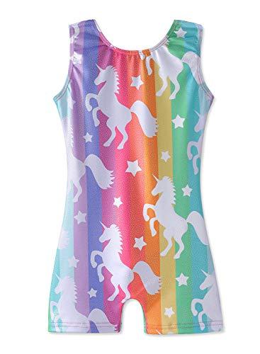 Unicorn Leotards for Girls Gymnastics Size 7-8 Years old Rainbow Stripe Biketard