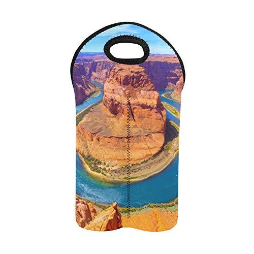 Holiday Wine Bags Erstaunliche Aussichten auf den Grand Canyon Arizona Wein-Einkaufstasche Doppelflaschenträger Weinträger 2 Flaschen Dicker Neopren-Weinflaschenhalter hält Flasche