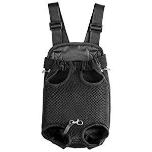 GEEPET Legs Out Front-Facing Dog Carrier Hands-Free Adjustable Pet Puppy Cat Backpack Carrier for Walking Hiking Bike and Motorcycle