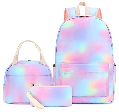 BLUBOON Teen Girls School Backpack Kids Bookbag Set with Lunch Box Pencil Case Travel Laptop Backpack Casual Daypacks (rainbow-02 0092)