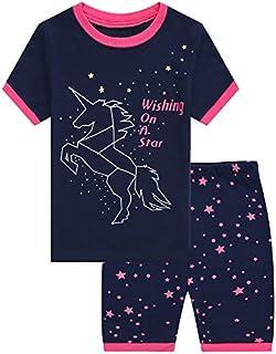 Girls Short Pajamas Snug Fit Sleepwear 100% Cotton Summer Toddler Pjs Clothes Shirts