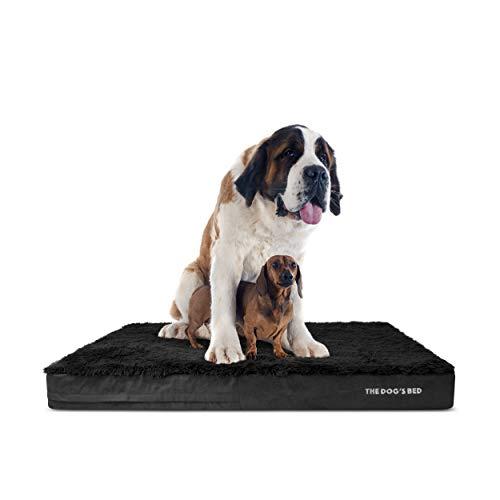 The Dog's Bed Orthopädisches Hundebett, XXXL, Kunstfell, 162 x 111 cm, wasserdicht, Memory-Schaumstoff, Schwarz