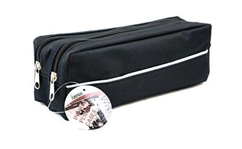 Arpan - Estuche de tela con cremallera doble, tamaño extragrande, ideal para la escuela, universidad, maquillaje, 1 (negro)