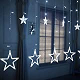 Sunshine smile Estrellas Hadas Luces,Cadena de Luces LED,LED Cortina Cadena Luces, LED Luces Decorativas, Luces de Hadas,Navidad,Fiesta, Boda, balcón, decoración (Blanco-1)