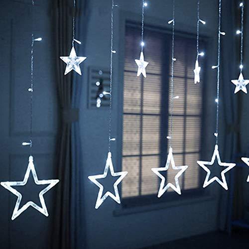 Sunshine smile lichtervorhang Fenster led,Lichterkette,Lichtervorhang Lichter Weihnachtsbeleuchtung mit 8 Flimmer-Modi,LED Lichterkette,Lichtervorhang Fenster Sterne,LED Sterne Lichterkette