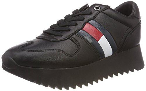 Hilfiger Denim Damen HIGH Cleated Sneaker, Schwarz (Black 990), 39 EU