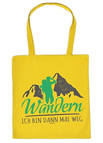 Stofftasche - Einkaufstasche mit Wandermotiv: Wandern. Ich Bin dann mal Weg - Wandern - Bergwandern - Bergsteigen - gelb