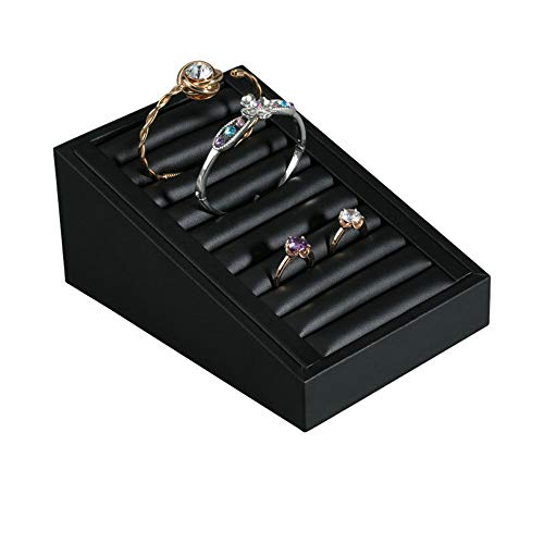 Chlyuan-hm Schmuckvitrine Vitrine Ring Trays Zubehör PU Leder für Schmuck Showcase Storage Displays Home Organisation & Dekoration für Halskette Armband Ring Ohrring