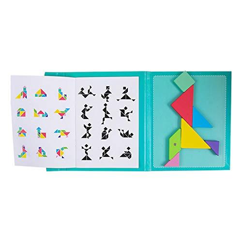 Children's Tangram, Magnetische houten puzzels, magnetische puzzel, magnetische tangram, Tangram Puzzel Reizen, Tangos puzzels Dissection Games met oplossing, Intelligence Book Educatief Speelgoed