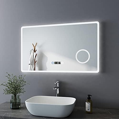 Bath-mann Espejo de baño LED 100 x 60 cm, espejo de baño con iluminación, 3 colores de luz 3000 – 6400 K, blanco frío,...