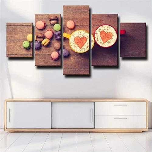 IJNHY Cuadro Precioso Café Macaron 5 Piezas De Arte De Pared XXL Impresiones En Lienzo 5 Piezas Cuadro Moderno para El Arte De La Pared del Hogar 150×80Cm HD Impreso Mural Enmarcado