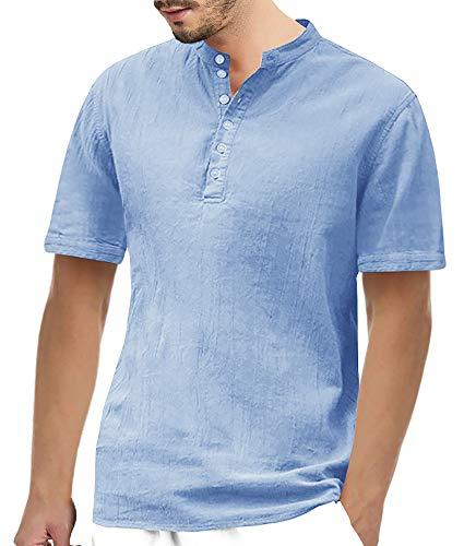 Gemijacka Herren Leinenhemd Henley Freizeithemd 3/4 Ärmellänge & Kurzarm Regular Fit Kragenloses Shirt, Blau, XXXL