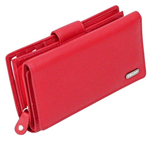 Damen Geldbörse aus Echtleder mit 19 Fächern - RFID-Blocker (Rot)