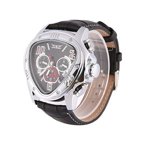 Ba30DEllylelly Reloj de Pulsera mecánico automático para Hombre, Relojes de Pulsera de Cuero, Relojes de Negocios con Esfera Negra Triangular, Relojes Esqueleto