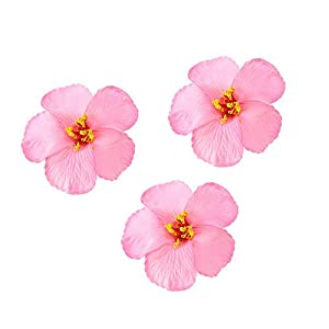 3pcs Hawaiian Hibiscus Flowers Artificial Flowers for Hawaiian Luau Tabletop Decoration Party Favors Supplies – Pink