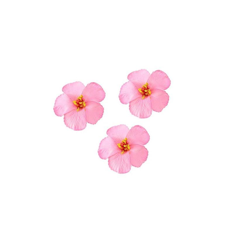 silk flower arrangements 3pcs hawaiian hibiscus flowers artificial flowers for hawaiian luau tabletop decoration party favors supplies - pink