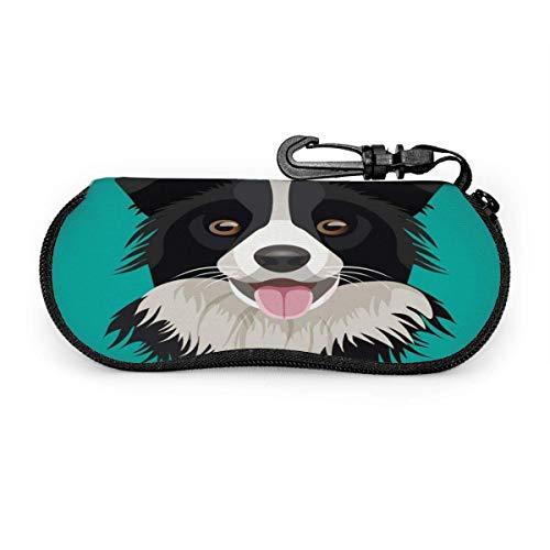 Bran-don Border Collie Dog Blue BrillenetuiPortable Sunglasses Softcase Tragbares Reiseschalenetui