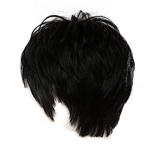 12shage Lace Wig Cap Cheveux, Femmes Sexy Courtes Perruques De Mode Synthétiques Parti Noir Perruques Rose Net