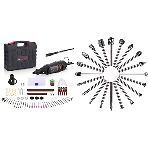 GOXAWEE Rotary Tool Kit with 20Pcs HSS Milling Bits Wood Milling Cutter Wood Routing Tool Set Bundle