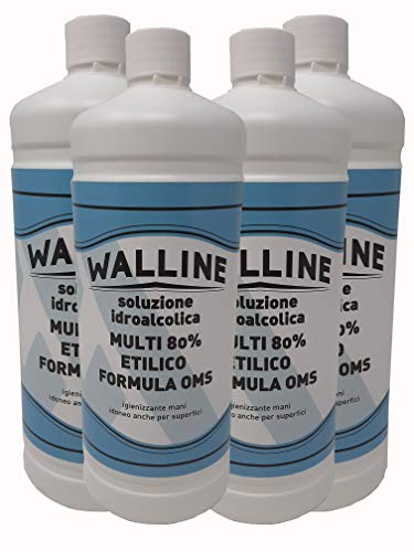 KIT Walline MULTIUSO RICARICA 4L - Soluzione Idroalcolica MULTI 80% ETILICO FORMULA OMS igienizzante mani idoneo anche per superfici