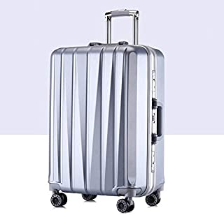 Luggage & Bags 24 inch Suitcase Female Pull-Rod Case Universal Wheel PC Travel Suitcase (Color : Silver)