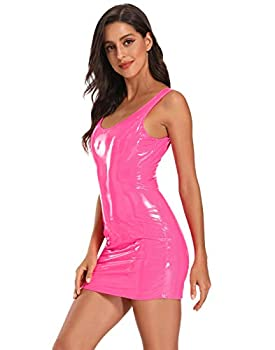 HDE Womens Latex Mini Dress Faux Leather Bodycon Sexy Club Dresses for Women  Small Pink