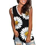 Lace Tank Tops for Womens Sunflower Cute Printed Vest Tshirt Sleeveless Workout Blouse Casual Summer Tank Top Tunic Tee