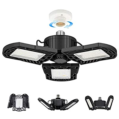 LED Garage Lights, 10000 Lumens Deformable Trilight Lighting, 100W Super Bright Garage Ceiling Light with E27/E26, CRI 80, 6000k Nature Light for Garage, Basement, Workshop, Shop (Black-100W-1 Pack)…