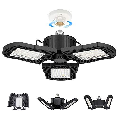 100W LED Garage Lights, Deformable Garage Ceiling Light, 10000 Lumens Ultra-Bright Trilight Lighting with 3 Adjustable Panels, E26 Base, CRI 80, 6000k Nature Light for Garage, Basement, Workshop etc