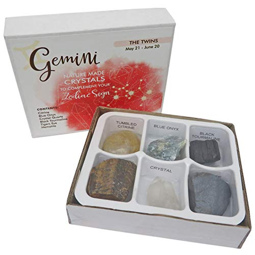 Rock Paradise Horoscope Stone Box Set - Gemini Zodiac Sign – Healing Crystals Birthstone Charms – Astrology Crystal Healing Horoscope Gift