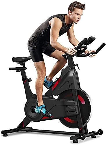 YOLEO Indoor Cycling Magnetic Resistance Exercise Bike (2021 Upgraded New Version), Heavy Duty Flywheel, Super-Silent, LCD Monitor, Pulse Sensor, Water Bottle Holder, Home Gym Stationary Bike (Red)