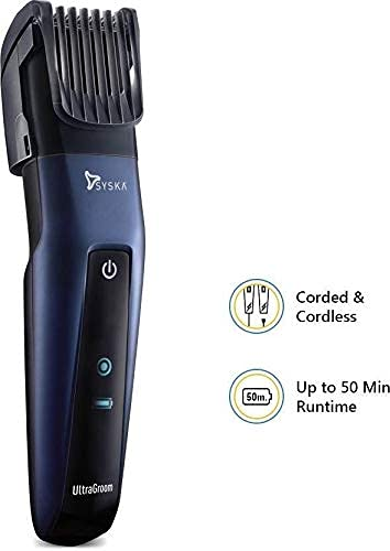 SYSKA HT3050 Corded & Cordless Stainless Steel Blade Trimmer with 50 Minutes Working Time; 10 Length Settings (Blue)